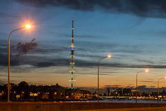St. Petersburg. City TV tower. Night view. Royalty Free Stock Photos