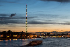 St. Petersburg. City TV tower. Night view. Royalty Free Stock Image