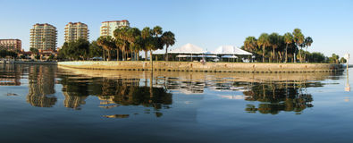 St Petersburg coastline. Panoramic of the palms,  landscape and city buildings in St Petersburg from the water Stock Photos