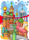St. Petersburg colored drawing. Abstract combination of city landmarks Royalty Free Stock Image