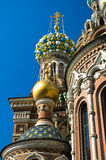 St Petersburg Coloured Cupola. The left side cupolas of the famous Church of the Saviour on the Spilled Blood in Saint Petersburg, Russia . The church is the Stock Images