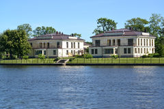 St. Petersburg. The cottage settlement on the bank of the river Royalty Free Stock Images