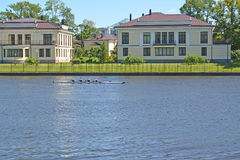 St. Petersburg. The cottage settlement on the river bank Royalty Free Stock Images