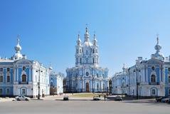 St. Petersburg. De Kathedraal en het Klooster van Smolny stock foto