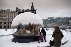 St. Petersburg, de Scène van de Kerstmisgeboorte van christus Stock Afbeeldingen