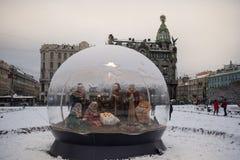 St. Petersburg, de Scène van de Kerstmisgeboorte van christus Stock Foto's