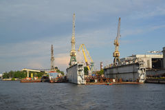 St. Petersburg. Dry dock of shipbuilding plant Royalty Free Stock Photography