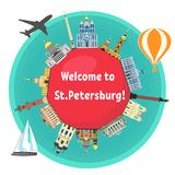 St. Petersburg famous landmarks. Around the text `Welcome to St.Petersburg`. Russian attraction. Travel and tourism flat style vector illustration. Russian Royalty Free Stock Image