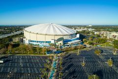 Aerial wide angle image Tropicana Field St Petersburg Florida US. ST PETERSBURG, FL, USA - APRIL 19, 2018: Aerial wide angle image Tropicana Field St Petersburg Royalty Free Stock Photo