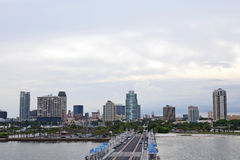 St Petersburg Florida. Downtown St. Petersburg, Florida with skyscrapers rising behind, from the pier Stock Photos