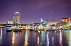St petersburg florida city skyline and waterfront at night Royalty Free Stock Photography