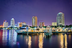 St petersburg florida city skyline and waterfront at night Stock Images