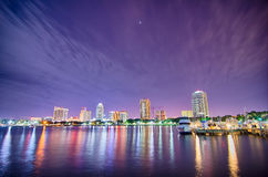 St petersburg florida city skyline and waterfront at night Royalty Free Stock Images