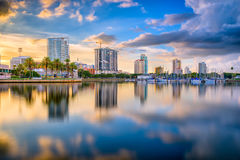 St. Petersburg, Florida, USA. Downtown city skyline on the bay Royalty Free Stock Photography