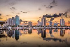 St. Petersburg, Florida, USA. Downtown skyline at dusk Stock Photos