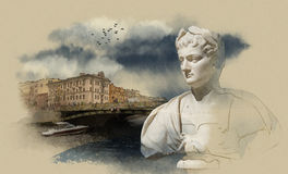 St. Petersburg, Fontanka river. The Statue Of Caesar. the view from the Summer garden. Watercolor sketch Vector Illustration