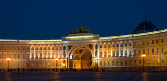 St. Petersburg. The General Staff building photographed at night. Royalty Free Stock Photography
