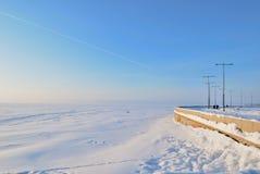 St Petersburg. Golf av Finland i vinter Arkivbild