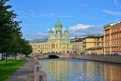 St Petersburg Griboyedov kanal Royaltyfri Foto