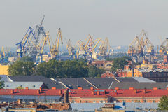 St. Petersburg harbor cranes Royalty Free Stock Photography