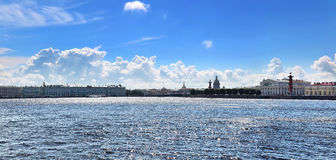 St. Petersburg - Between heaven and earth. Panorama of St. Petersburg. Vasilyevsky Island, Exchange, Rostral columns Royalty Free Stock Photo