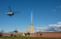 St. Petersburg. helicopter soars near Peter and Paul Fortress Stock Photography