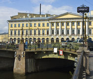St. Petersburg, house or architect Armani and Theatre bridge Stock Images