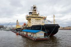 `St. Petersburg` icebreaker at pier `English Embankment` close up. Fourth annual festival of icebreakers Stock Images
