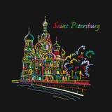 St Petersburg Iglesia del salvador en sangre derramada Rusia Bosquejo para su diseño ilustración del vector