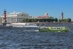 St. Petersburg and its attraction. Saint Petersburg city on the Neva River and its beauty, Spit of Vasilyevsky Island Royalty Free Stock Photography