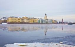 St. Petersburg, Kai von Fluss Neva im Winter Stockbilder