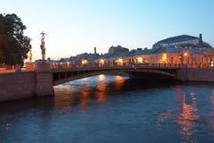 St. Petersburg kanałów noc Obrazy Royalty Free