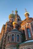 St Petersburg, Kathedrale der Auferstehung auf dem Blut, Fragment, Mosaikikonen, goldene Hauben Lizenzfreie Stockbilder