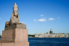 St.Petersburg landmark. View of Neva river with Sphinx and St.Isaak cathedral in St.Petersburg, Russia Royalty Free Stock Photo