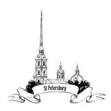 St. Petersburg landmark, Russia. Travel landmark label Royalty Free Stock Photography