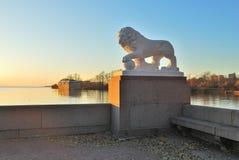 St Petersburg. Leone che custodice la città Fotografie Stock Libere da Diritti