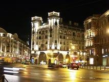 St Petersburg Lev Tolstoy Square en la noche Fotografía de archivo libre de regalías