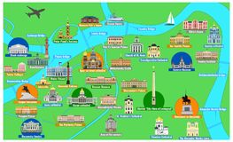St. Petersburg map with famous landmarks. Map of the historical center of Saint Petersburg with sights flat style vector illustration. Architectural symbols of Stock Photography