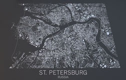 St. Petersburg map, satellite view, Russia Royalty Free Stock Photography