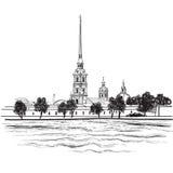 St. Petersburg-Markstein, Russland. Reisemarksteinillustration lizenzfreie abbildung
