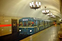 St petersburg metro station. Amazing interior of st petersburg metro station stock photos