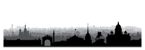St Petersburg miasta linia horyzontu, Rosja Turystyczna punkt zwrotny sylwetka ilustracja wektor