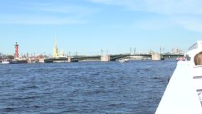 St Petersburg Neva river. Pleasure craft on the river. Slow motion from a pleasure boat. St Petersburg Neva river. Pleasure craft on the river. Slow motion from stock footage
