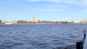 St Petersburg Neva river. Pleasure craft on the river. Slow motion from a pleasure boat. St Petersburg Neva river. Pleasure craft on the river. Slow motion from stock video footage