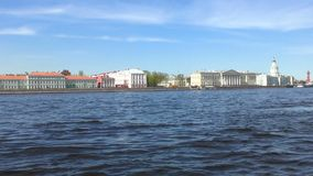 St petersburg neva river. Slow motion from a pleasure boat. St petersburg neva river. Slow motion from a pleasure boat stock video footage