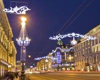 St. Petersburg, Nevskiy prospectus street at night Royalty Free Stock Photography