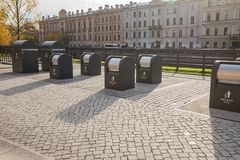 St.Petersburg, New Holland. Garbage Containers. ST. PETERSBURG, RUSSIA - OCTOBER 16, 2018: New Holland. Containers for separate collection of garbage royalty free stock photography