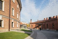 St.Petersburg, New Holland island, buildings of former prison and forge. ST. PETERSBURG, RUSSIA - OCTOBER 16, 2018: New Holland. Reconstructed buildings of the royalty free stock images