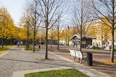 St.Petersburg, New Holland, people walk in good autumn weather. ST. PETERSBURG, RUSSIA - OCTOBER 16, 2018: New Holland recreation area in the city center royalty free stock photography