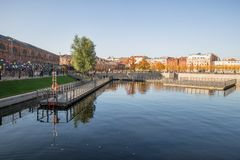 St.Petersburg, New Holland, pond and pontoons. ST. PETERSBURG, RUSSIA - OCTOBER 16, 2018: New Holland, old pond Kovsh, after the reconstruction were arranged stock image